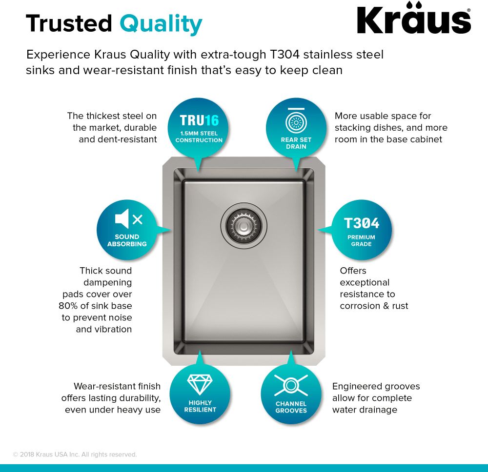 Kraus KHU10114 14 Inch Undermount Stainless Steel Kitchen Bar Sink ...