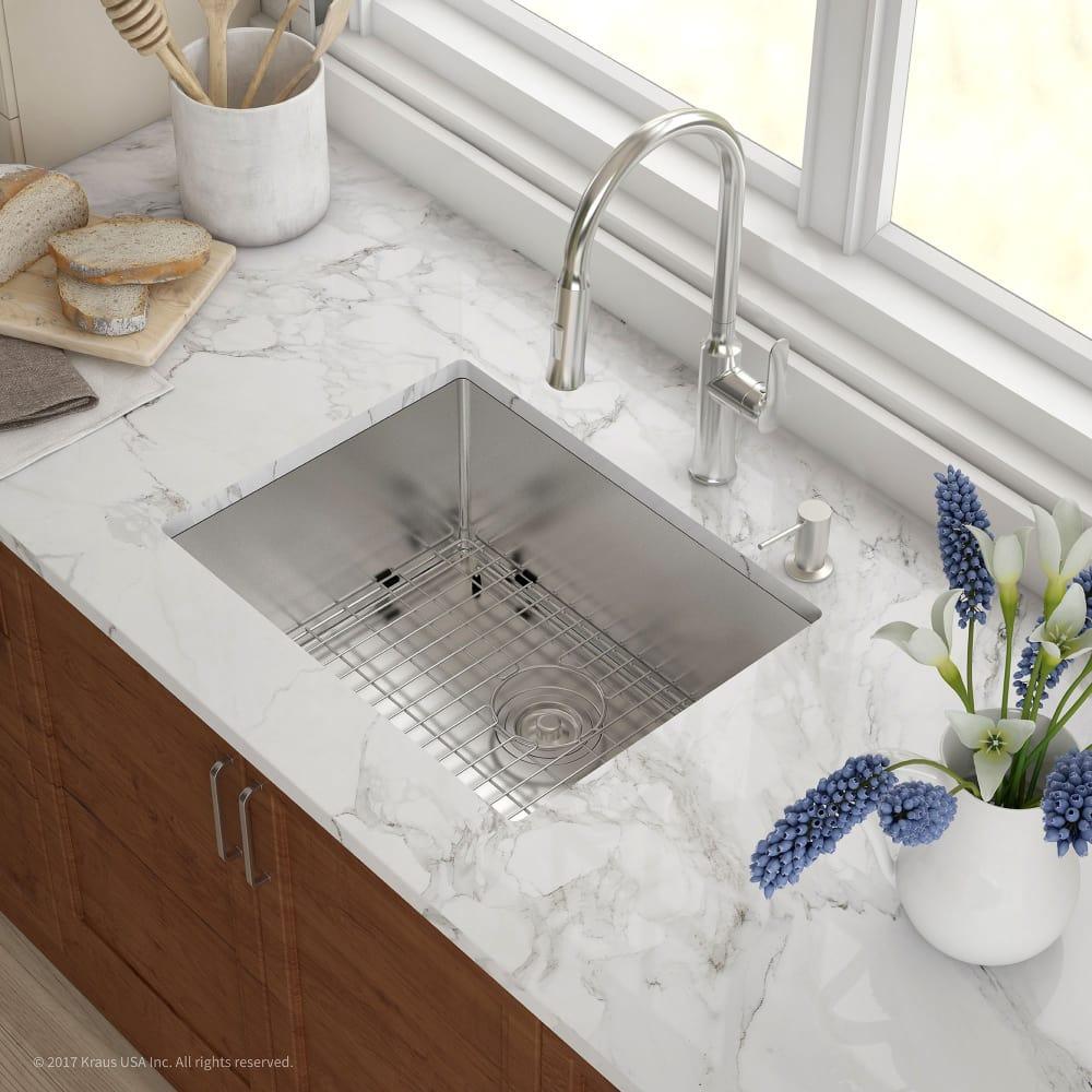 Kraus KHU10123 23 Inch Undermount Single Bowl Kitchen Sink with 16 ...