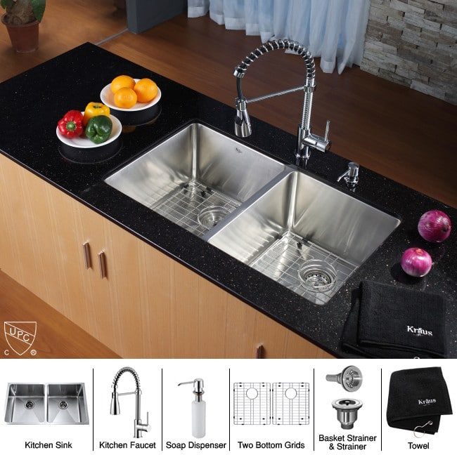 ... Kraus Kitchen Combo Series KHU10233KPF1612KSD30CH   Sink And Accessories