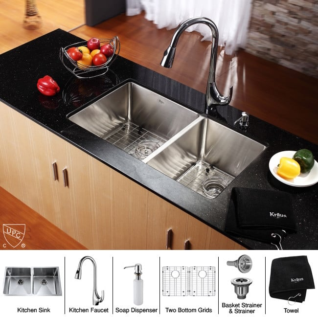 ... Kraus Kitchen Combo Series KHU10233KPF1621KSD30CH   Sink And Accessories