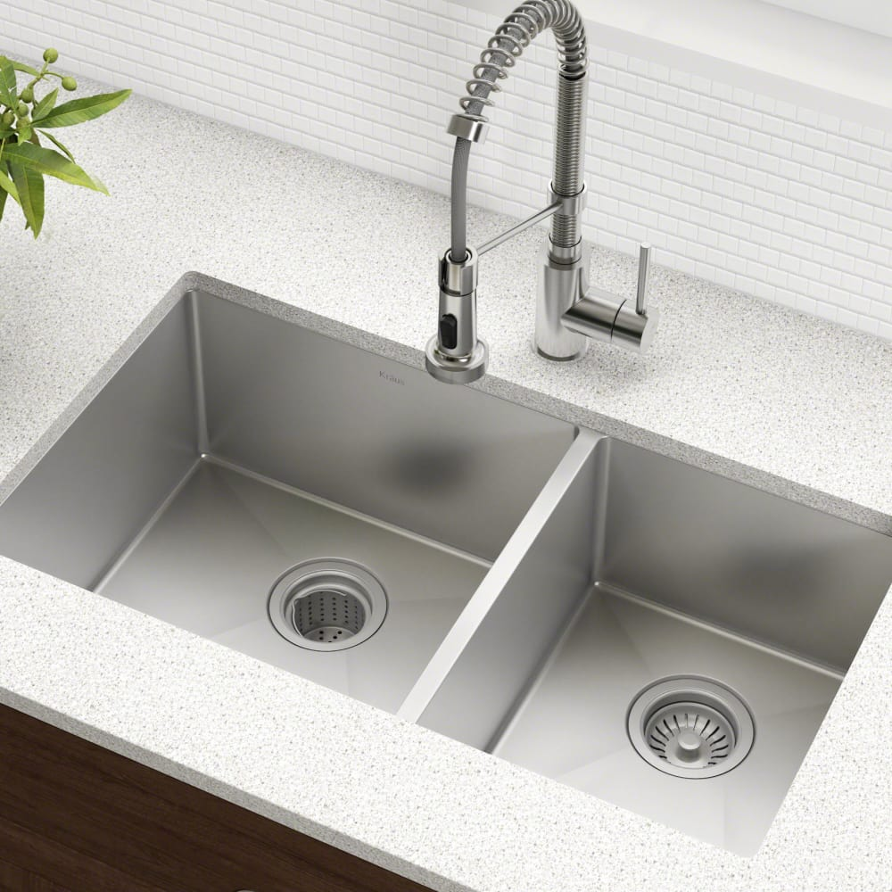 3a0210a4f8 Kraus KHU10333 33 Inch Undermount 60/40 Double Bowl Kitchen Sink ...