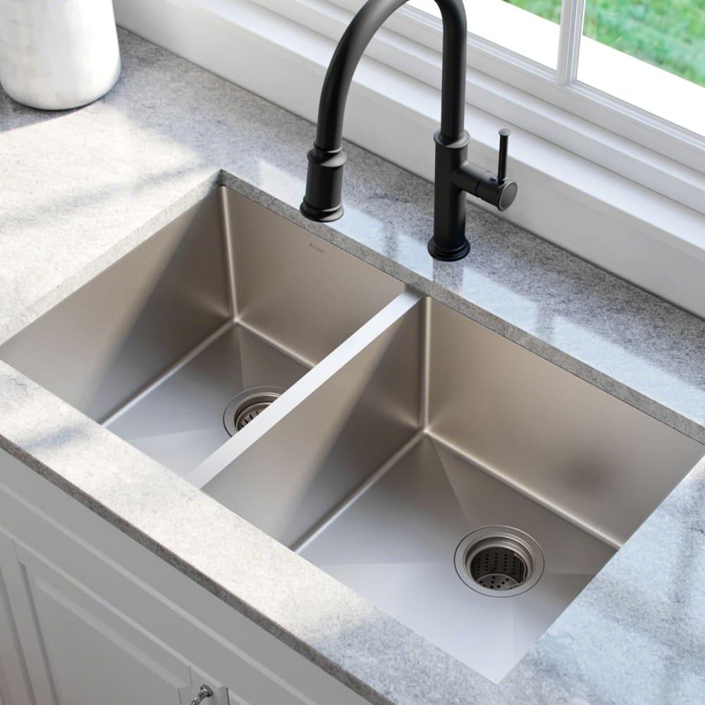 Kraus KHU10433 33 Inch Undermount 60/40 Double Bowl Kitchen Sink ...
