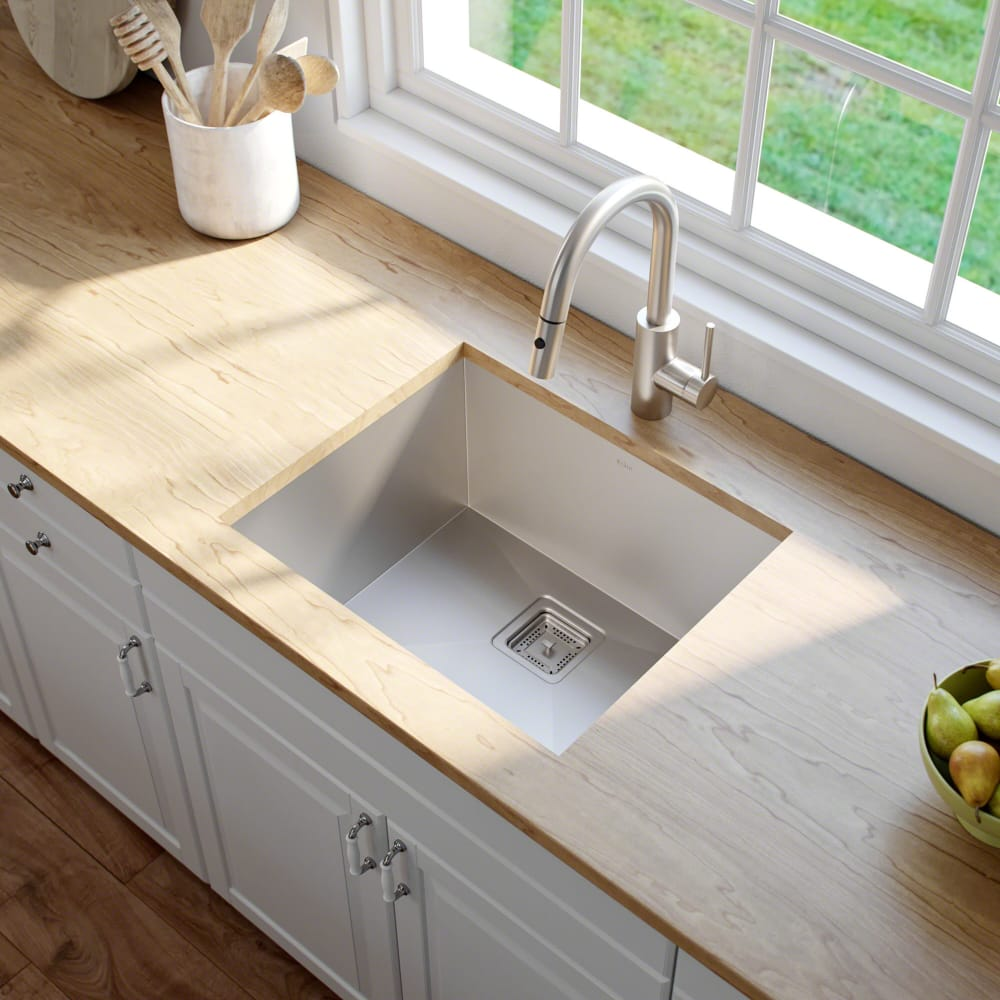 Charmant Kraus KHU23 22 1/2 Inch Zero Radius Single Bowl Stainless Steel Kitchen Sink  With 16 Gauge, NoiseDefend Sound Dampening System, Handmade Design, ...