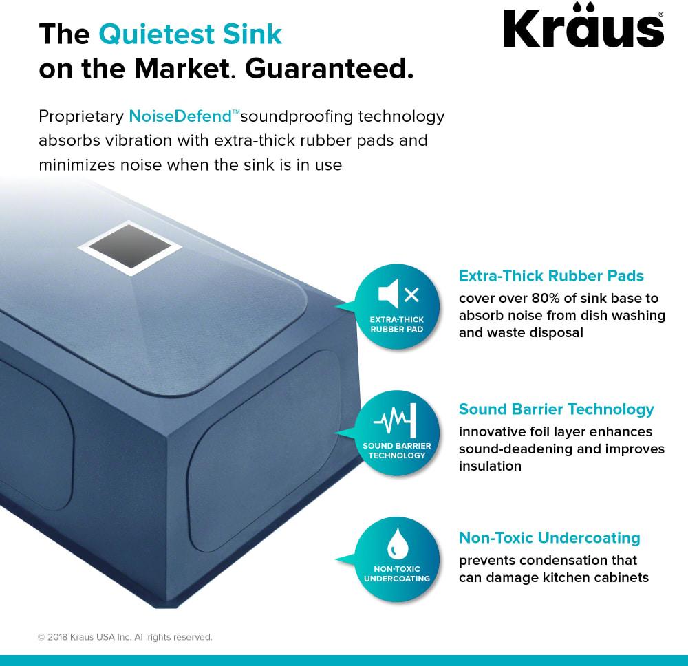 Kraus KHU23 22-1/2 Inch Zero-Radius Single Bowl Stainless Steel ...