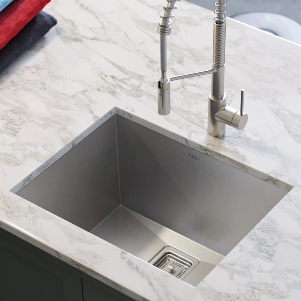 Kraus Khu24l 24 Inch Zero Radius Single Bowl Stainless Steel Utility Sink With 18 Gauge Noisedefend Sound Dampening System Handmade Design 95 Degree Angled Walls Water Channel Grooves Contemporary Square Drain And Towel Accessory