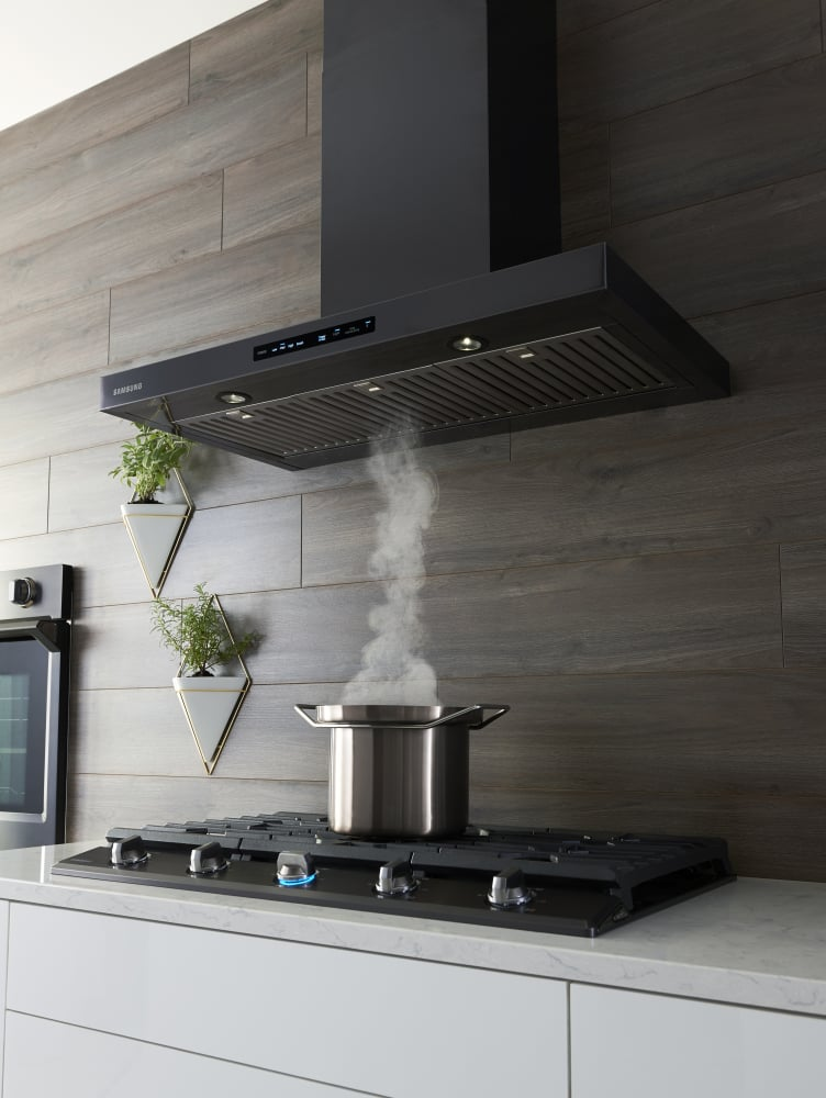 Black Chimney Style Range Hoods ~ Samsung nk k wg inch wall mount chimney range hood