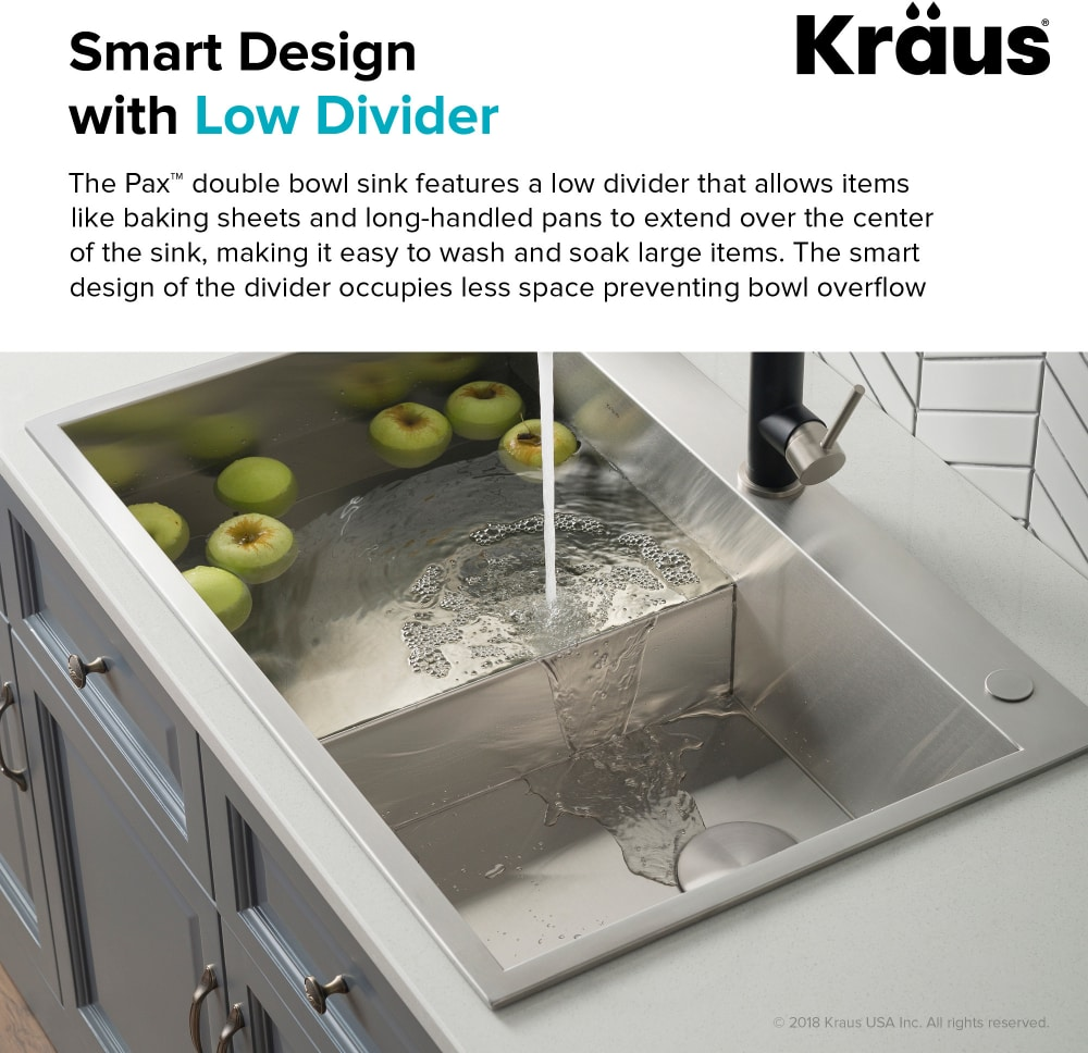 Kraus Kp1td33s2 33 Inch Drop In Stainless Steel Double Bowl Kitchen