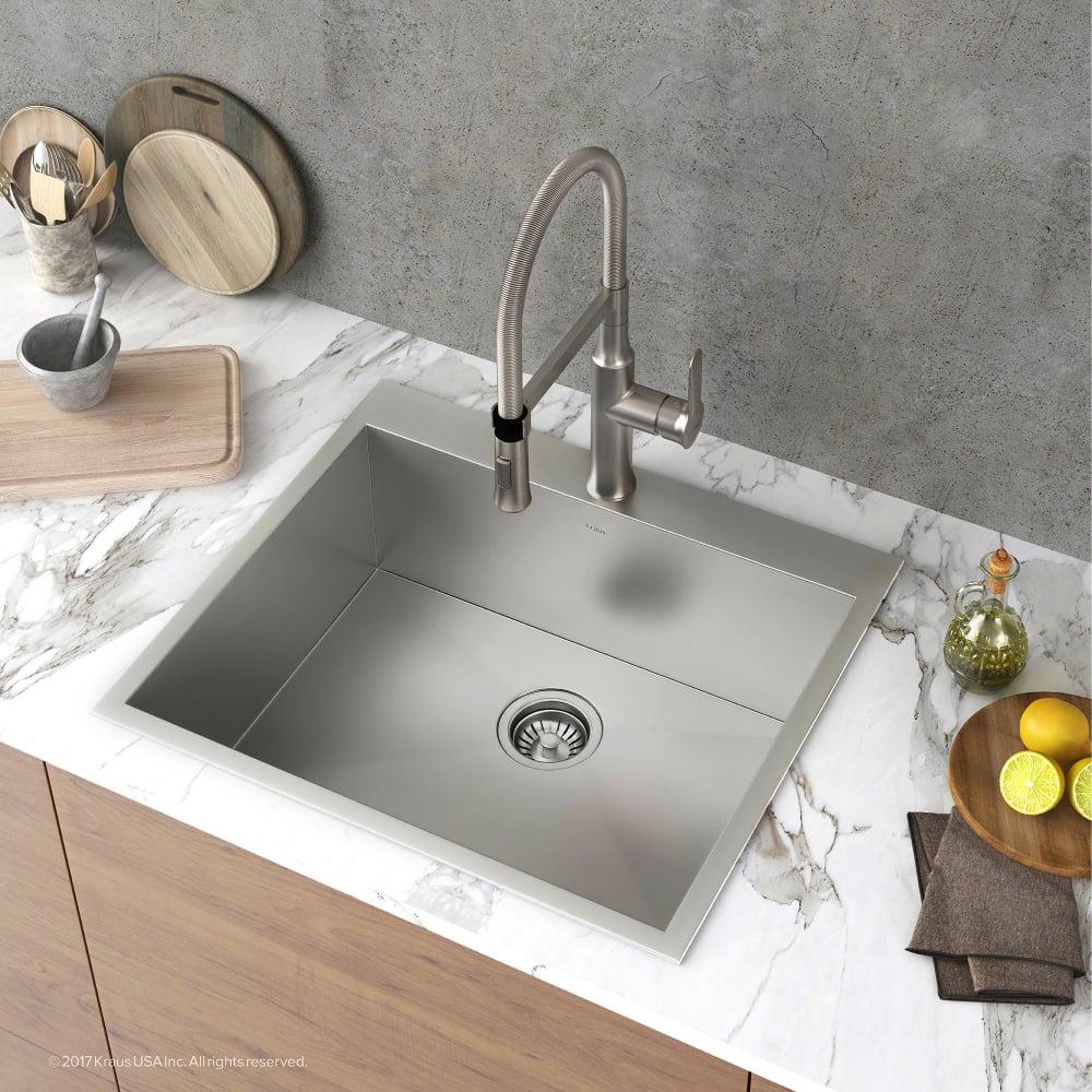 Kraus KP1TS25S1 25 Inch Zero-Radius Topmount Single Bowl Kitchen ...