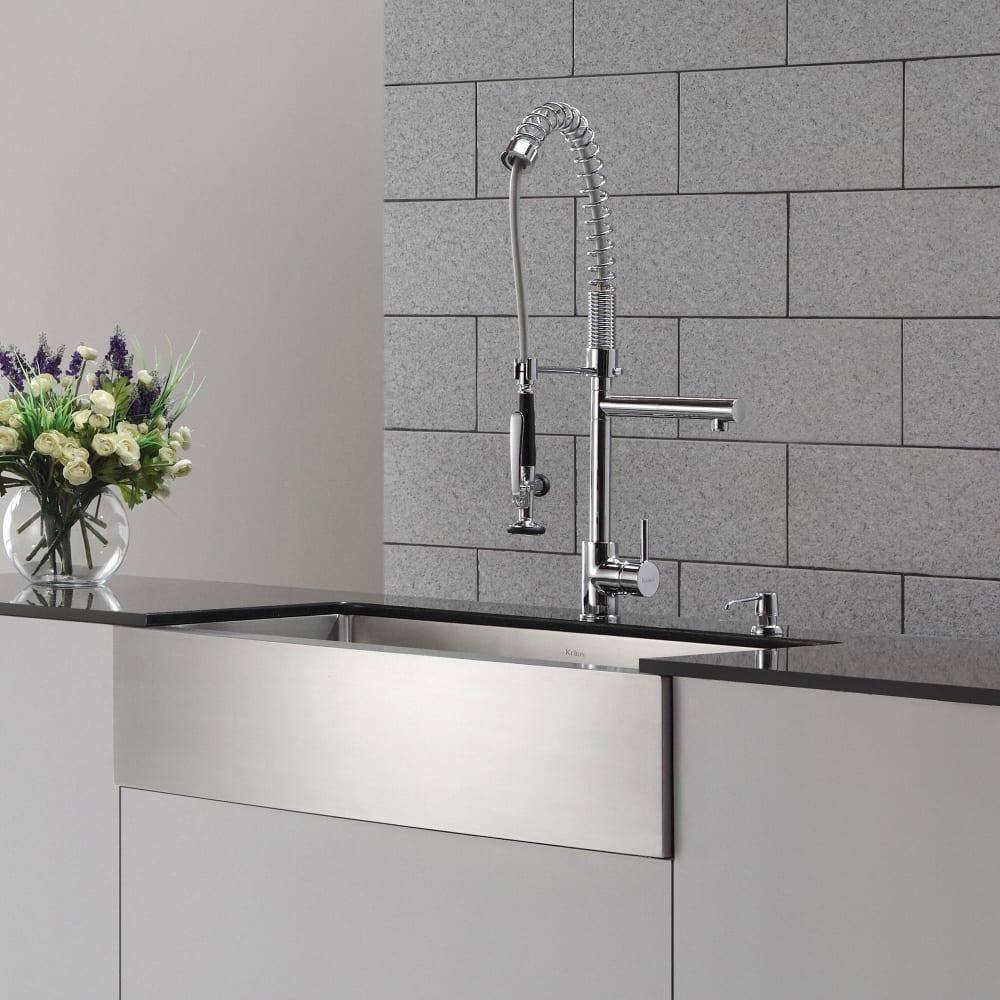 Kraus kpf1602 single handle chrome pull down commercial for Ajmadison