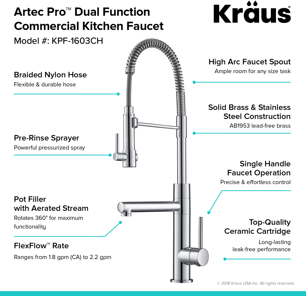 Kraus Kpf1603ch 2 Function Commercial Pre Rinse Kitchen Faucet With