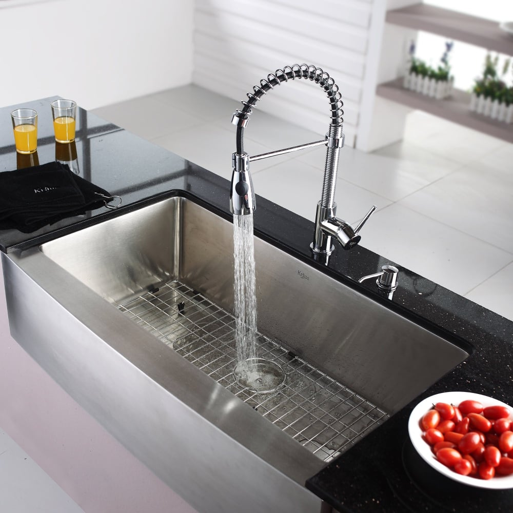 Kraus KPF1612KSD30CH Single Lever Spiral Spring Kitchen Faucet with ...