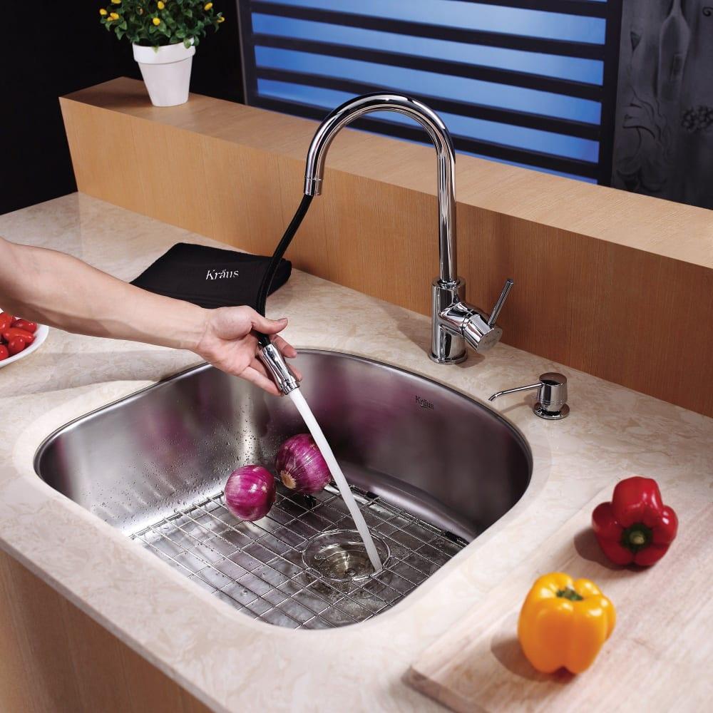 ... Soap Dispenser Kraus Kitchen Faucet Series KPF1622KSD30   Lifestyle  View Kraus Kitchen Faucet Series KPF1622KSD30   Lifestyle View ...