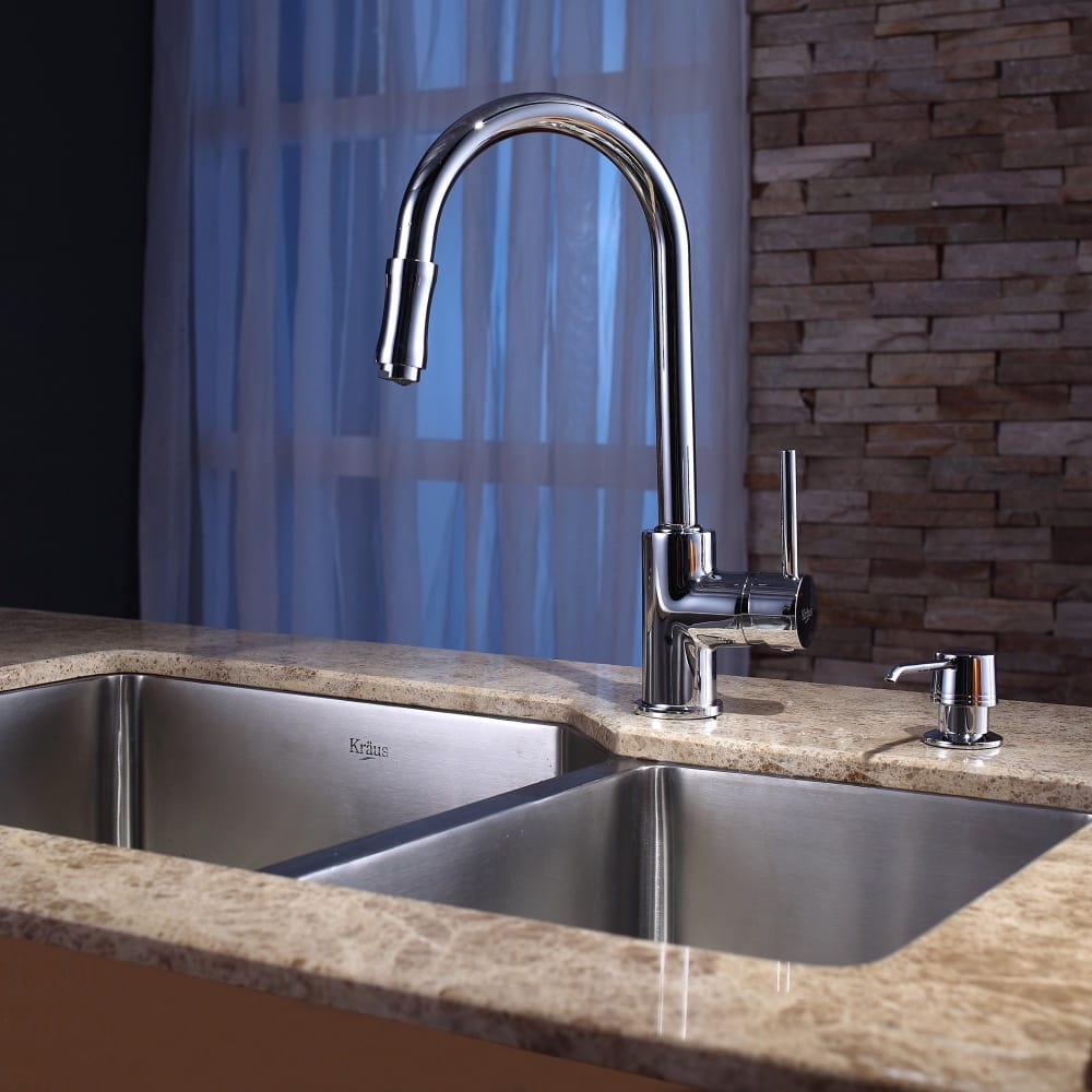 Kraus KPF1622KSD30CH Single Lever Cast Spout Kitchen Faucet with 2.2 ...