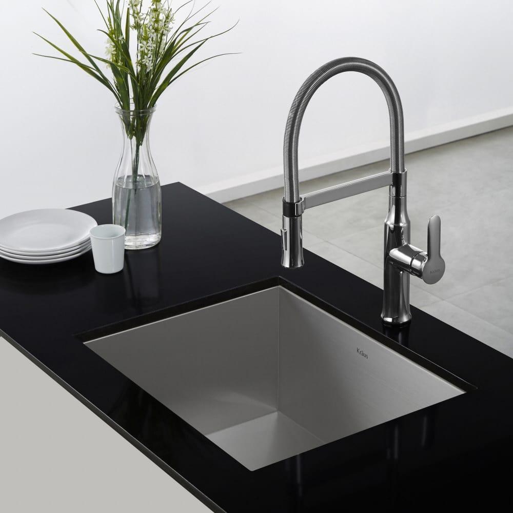 Kraus KPF1640CH Single Handle Flex Commercial Style Kitchen Faucet ...