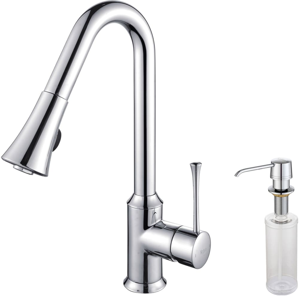 Kraus KPF1650KSD30CH Single Lever Pull Out Kitchen Faucet with Hi-Arc ...