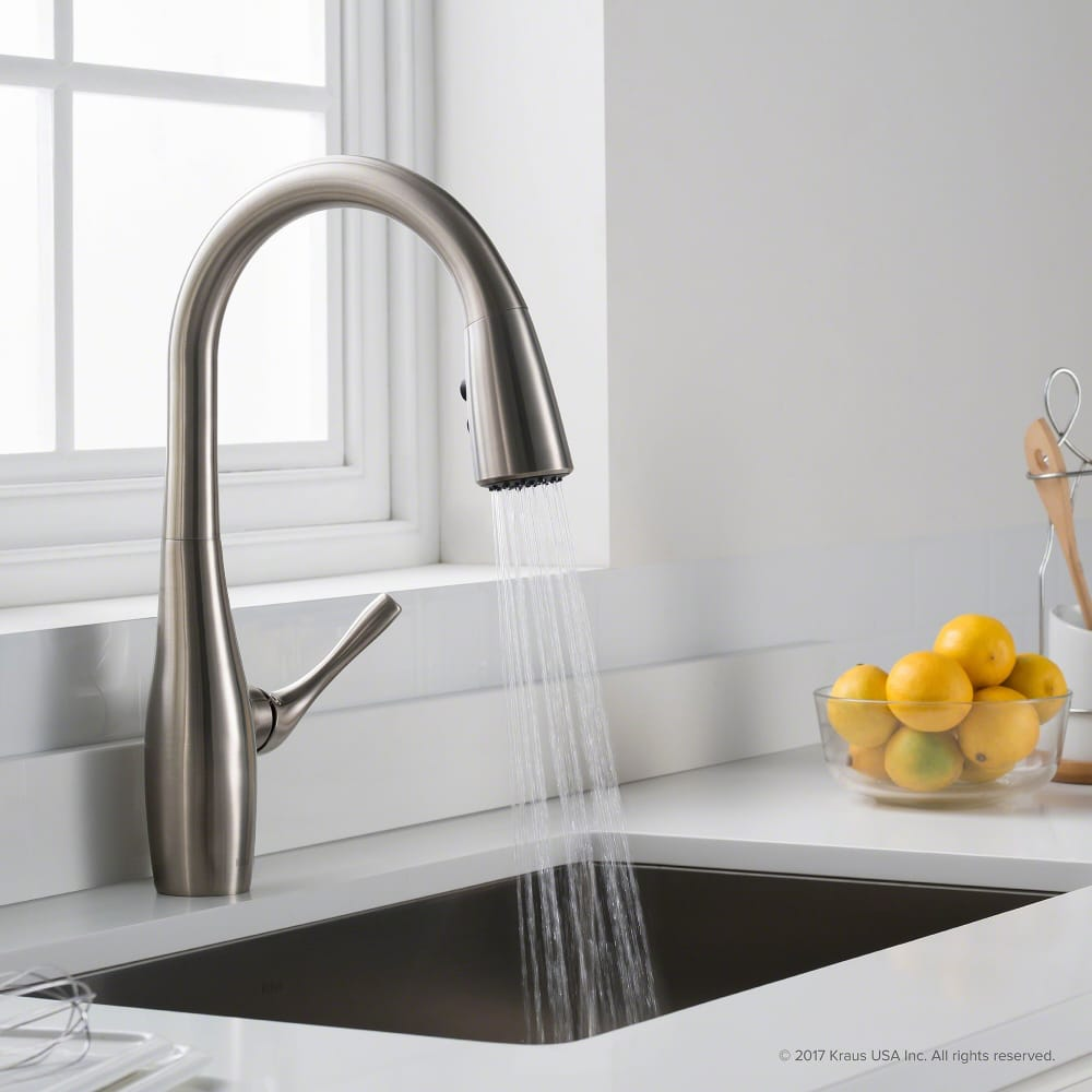 Kraus KPF1670SFS Single Handle Pull Down Kitchen Faucet With All Brite™ Stainless  Steel Finish, Reach™ Technology And Dual Function Sprayhead