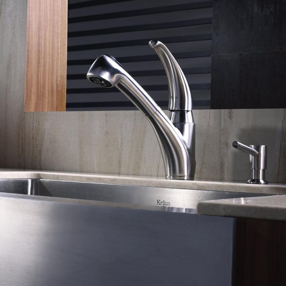 Kraus Kpf2110sd20 Single Lever Stainless Steel Pull Out Kitchen Faucet With 360 Degree Swivel