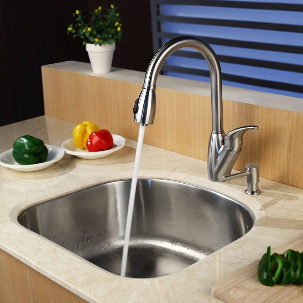 Kraus kpf2120sd20 single lever pull out faucet with 9 inch for Ajmadison