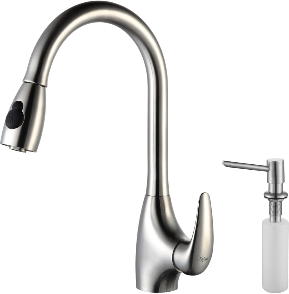 Kraus KPF2170SD20 Single Lever Pull Out Kitchen Faucet with Hi-Arc ...