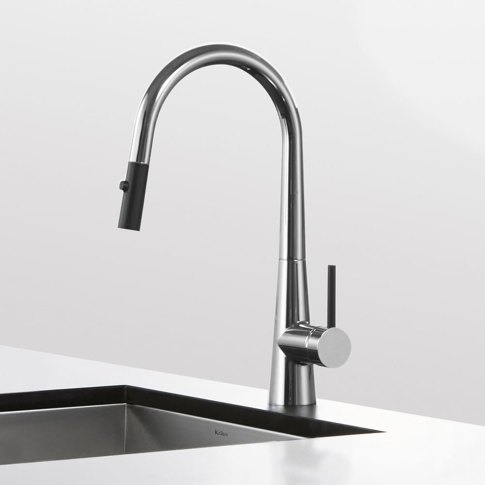 Kraus Kpf2720ch Single Handle Pull Down Kitchen Faucet With 8 3 8 Inch Spout Reach Dual