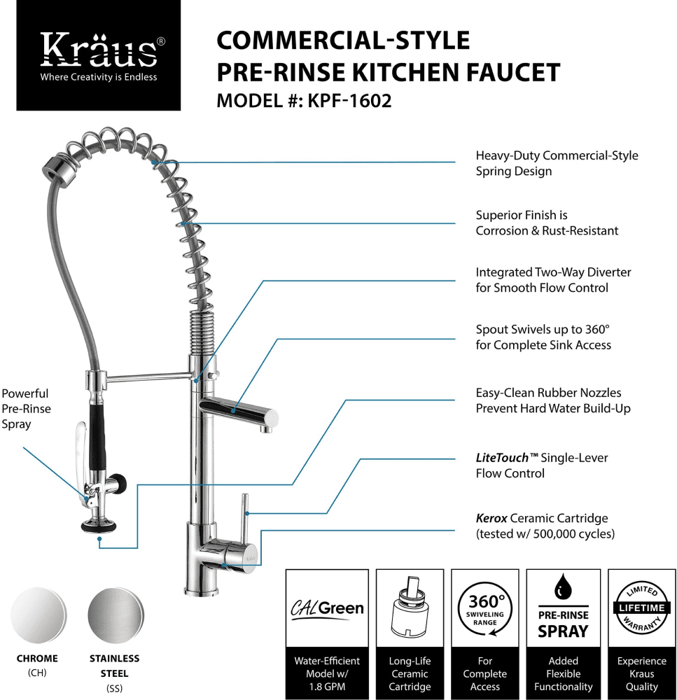 cgi ajmadison spiral faucets lever chrome kraus highlights faucet single brochure parts spring series kitchen with bin