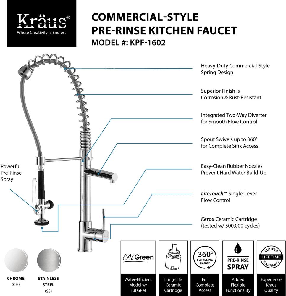 Kraus Kitchen Faucet Series Kpf1602ksd30ch Highlights