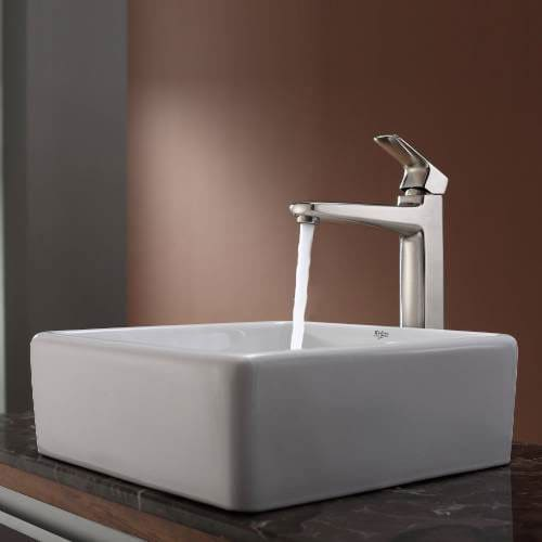 Kraus ckcv12015500bn 15 inch white square ceramic sink for White ceramic bathroom bin