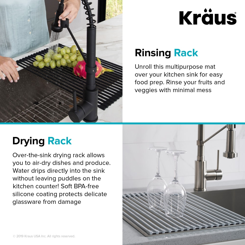 Kraus Krm10grey Grey Multipurpose Over Sink Roll Up Dish