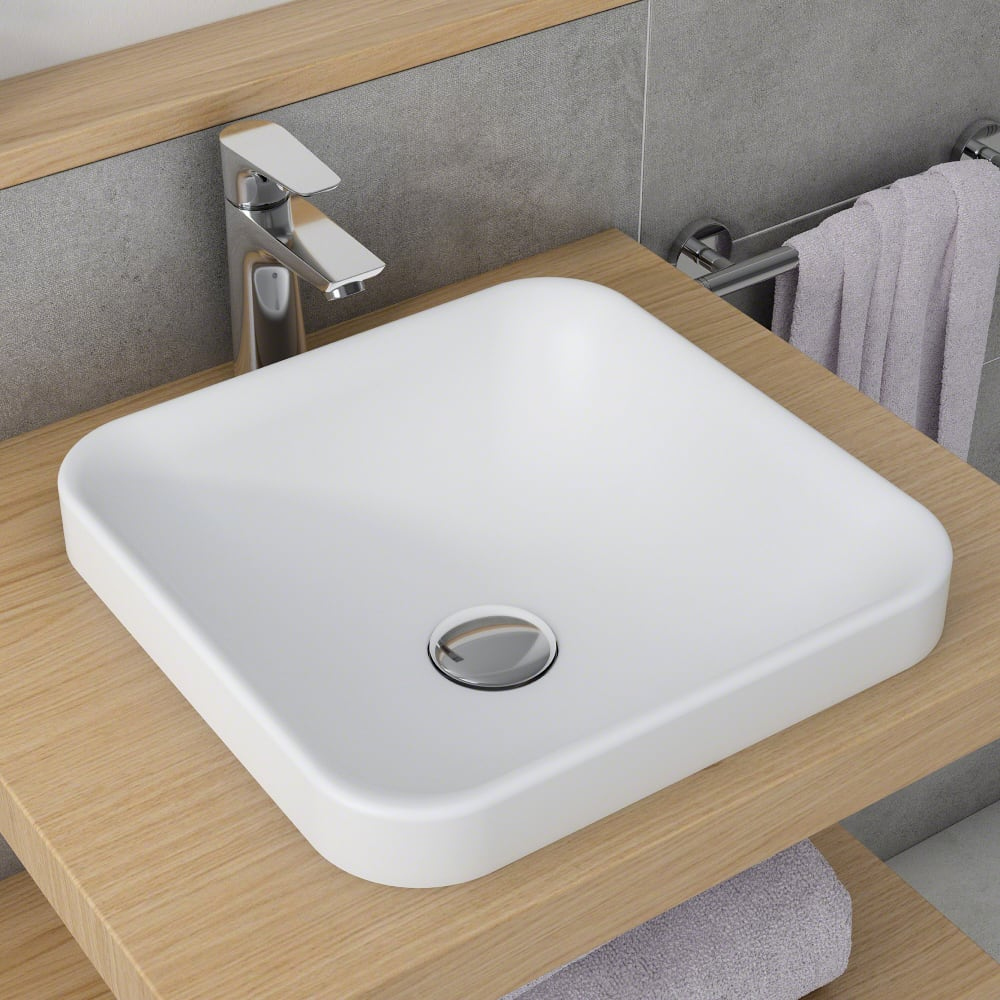 Kraus KSR9MW Square Semi-Recessed Bathroom Sink with Nano Coating Technology, Highly Resilient Material and Naturally Hygienic