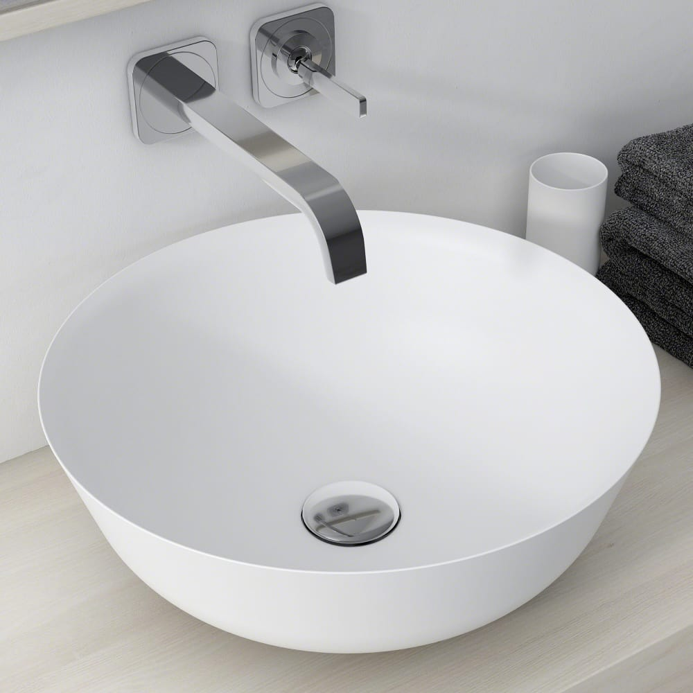 Kraus KSV6MW Round Vessel Bathroom Sink with Nano Coating Technology, Highly Resilient Material and Naturally Hygienic