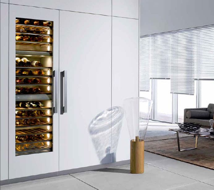 miele mastercool series kwt1603sf miele kwt16 wine storage custom panel lifestyle view - Built In Wine Cooler