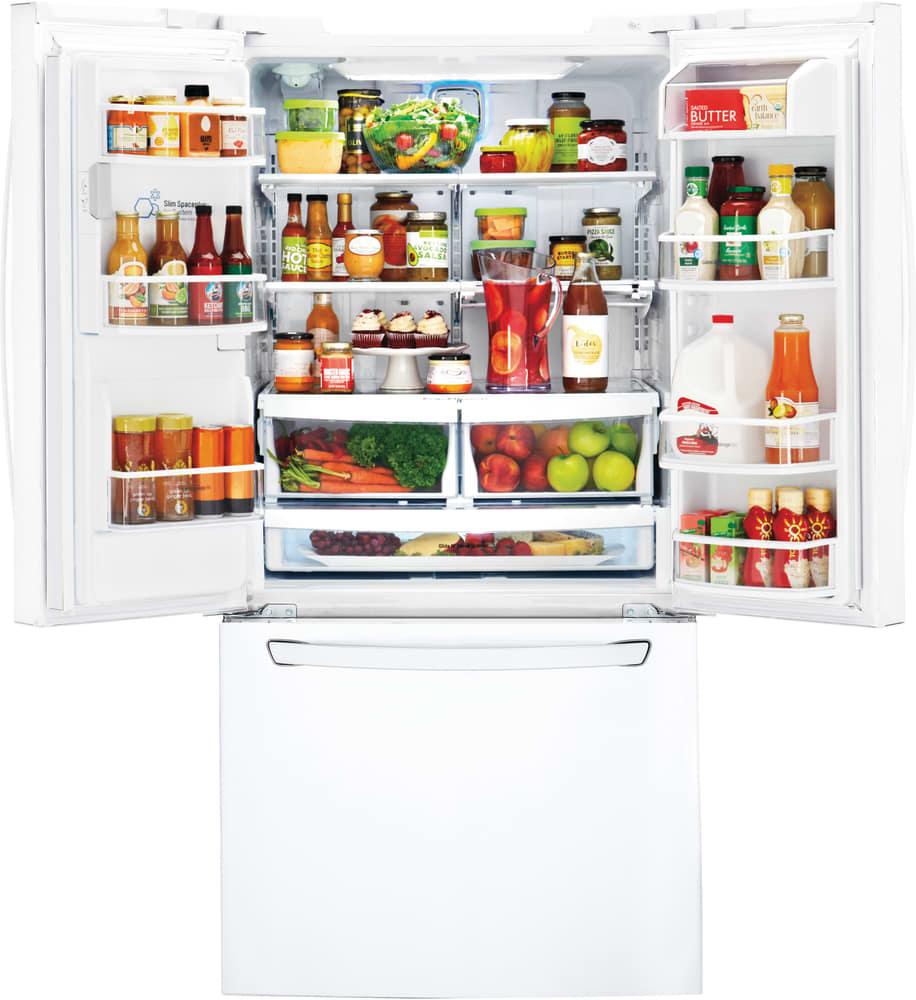 Largest Capacity Refrigerator Lg Lfxs24623w 33 Inch French Door Refrigerator With Slim Spaceplus