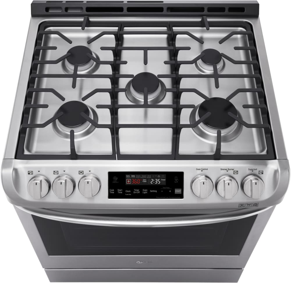 LG LSG4511ST 30 Inch Gas Slide In Range With 6.3 Cu. Ft. Capacity, 5 Sealed  Burners, 17,000 BTU SuperBoil Burner, ProBake Convection, Broil, Proof, ...