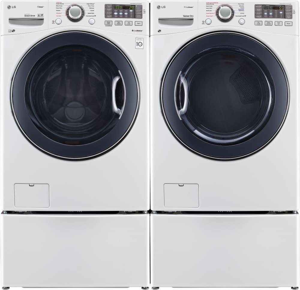 lg turbowash series wm3570hwa shown with matching dryer pedestals sold separately
