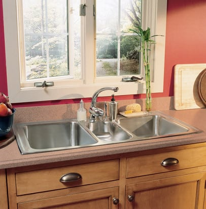 Elkay lgr43225 43 inch top mount triple bowl stainless steel sink elkay gourmet collection lgr43225 kitchen view workwithnaturefo