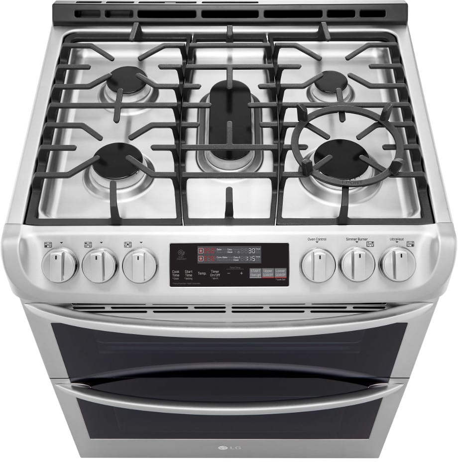 LG LTG4715ST 30 Inch Slide-In Double Oven Gas Range with