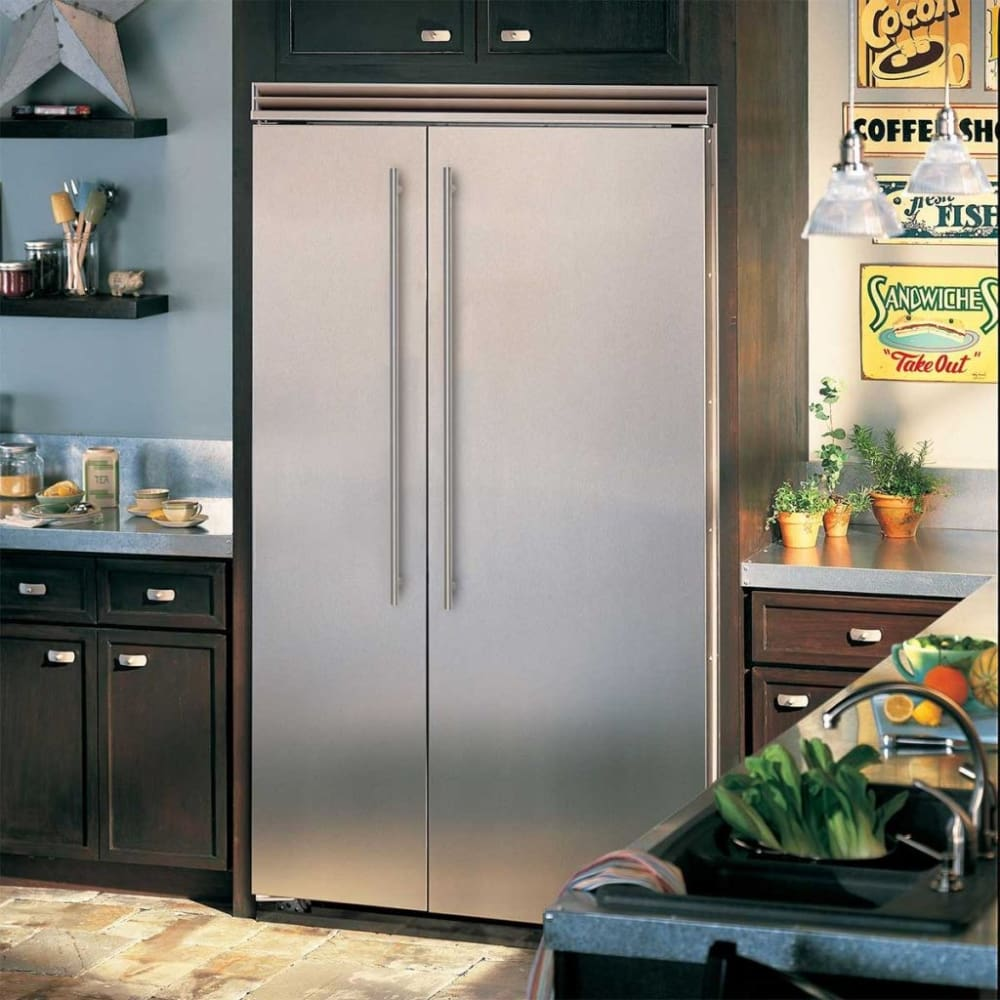 refrigerator side built viking 48 professional series stainless steel freezer inch cool quiet commercial appliances marvel kitchen cu ft refrigerators