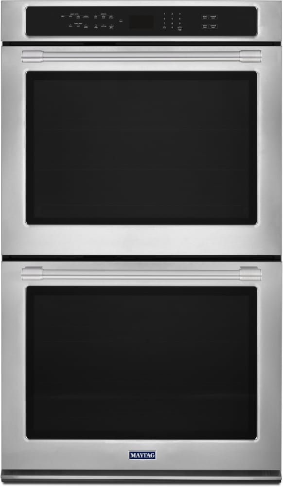 maytag mew9630fz 30 inch double electric wall oven with 10.0 cu. ft.  capacity, true convection, precision cooking system, power preheat, fit  system, variable broil, heavy-duty roll-out racks, 2x life heavy duty door  aj madison