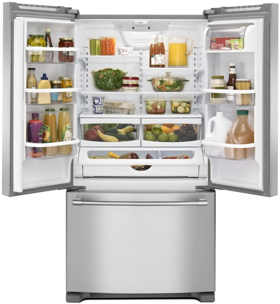 Maytag MFF2258FEZ 33 Inch French Door Refrigerator With Adjustable  Cantilever Shelves, FreshLock Crispers, Dairy Center, 22 Cu. Ft. Of  Capacity, 3 Drawers, ...