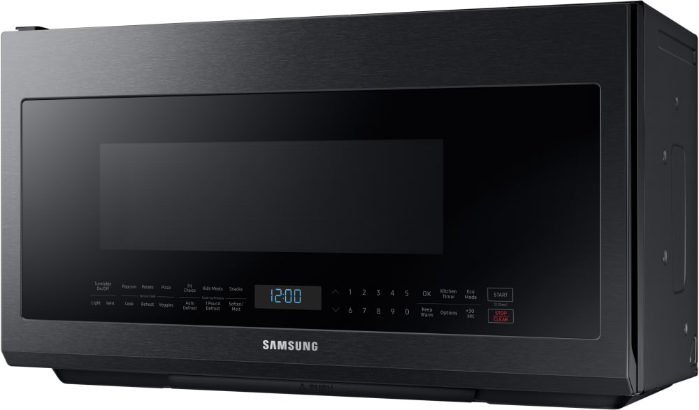 Samsung me21m706bag 2 1 cu ft over the range microwave - Stainless steel microwave interior ...