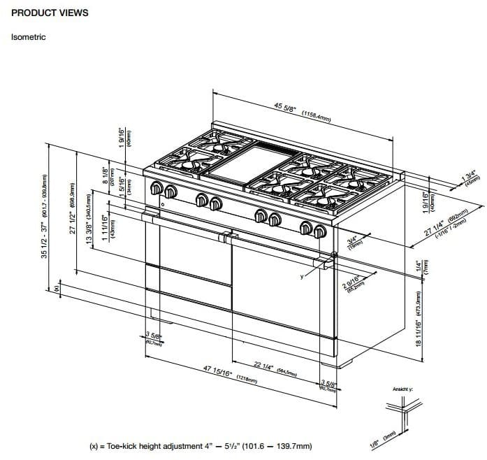 Miele Hr1956dfgd 48 Inch Pro Style Dual Fuel Range With