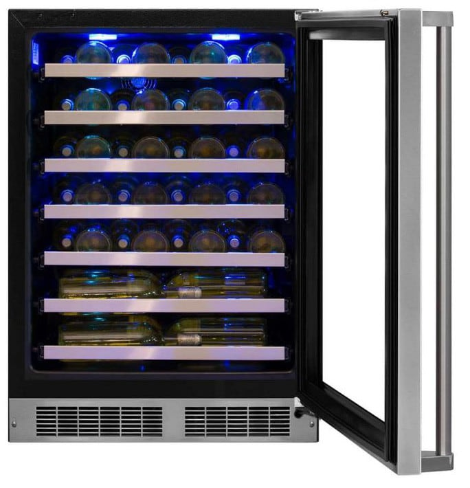 Marvel Mp24wsg5rs 24 Inch Counter Depth Wine Cooler With Vacation Mode Intuit Controls Interior Led Lighting 48 Bottle Capacity 7 Racks