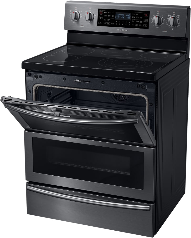 Samsung Ne59j7850wg 30 Inch Freestanding Electric Range With 5 Heating Elements 5 9 Cu Ft Flex Duo Convection Oven Flexible Cooktop With Self Clean With Steam Soft Close Door Warming Drawer And Star K Certified