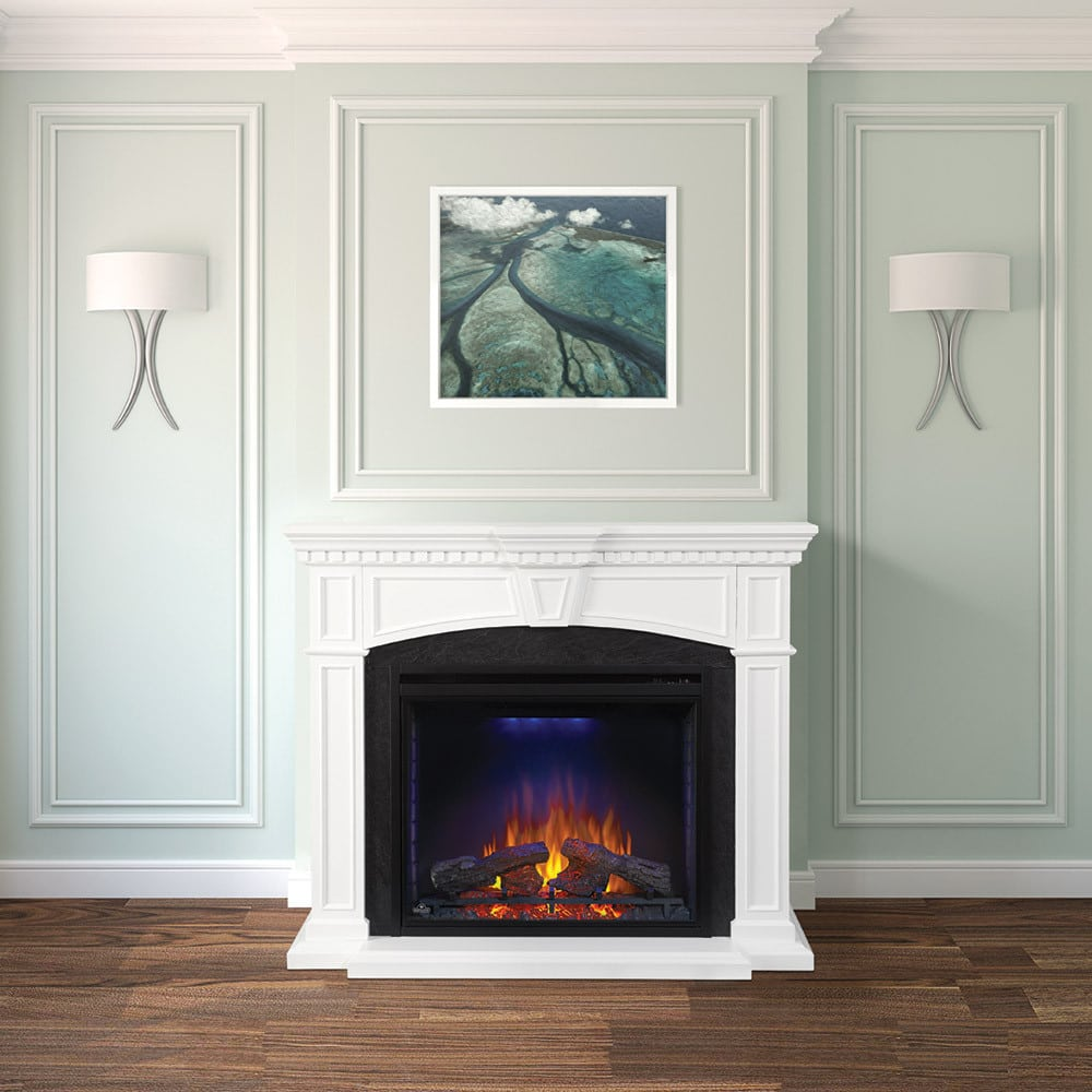 napoleon nefpw taylor fireplace mantel with  inch indoor  -  indoor electric napoleon fireplace mantel series nefpw lifestyle view
