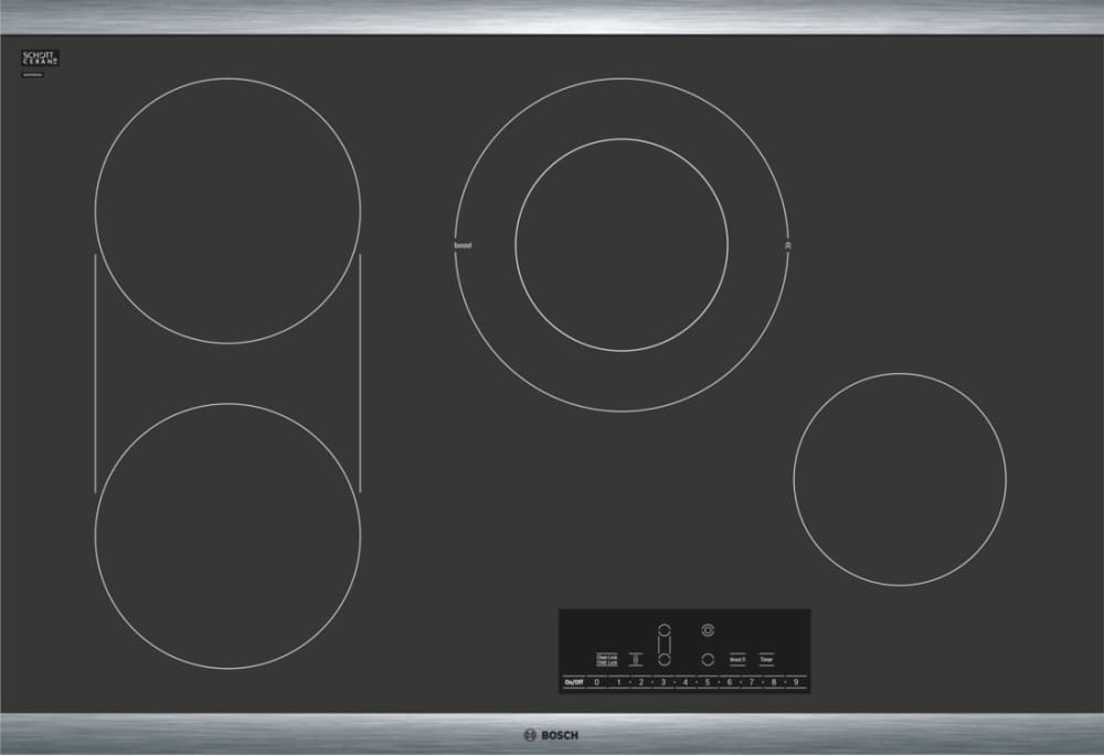 Bosch net8068suc 30 inch electric cooktop with dual size burner.