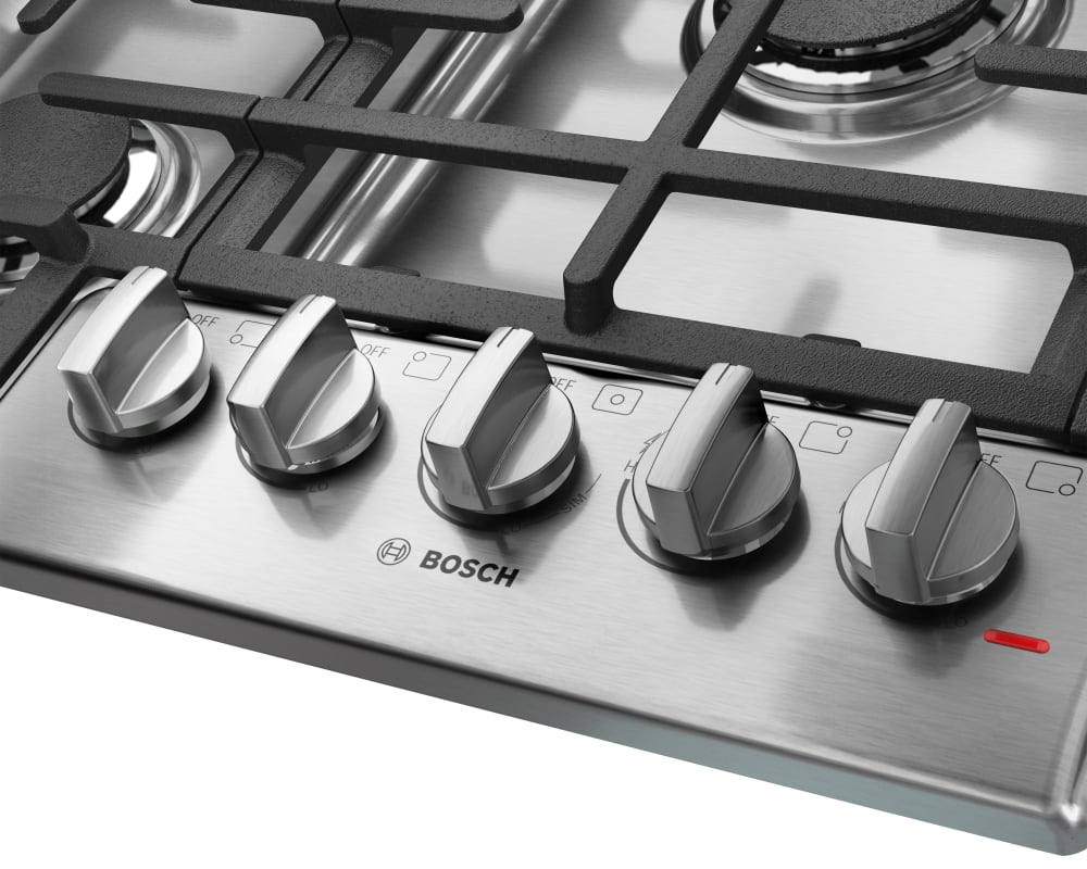 Kitchen gas stove top view -  Gas Cooktop With 5 Sealed Burners Bosch 800 Series Ngm8055uc Front View