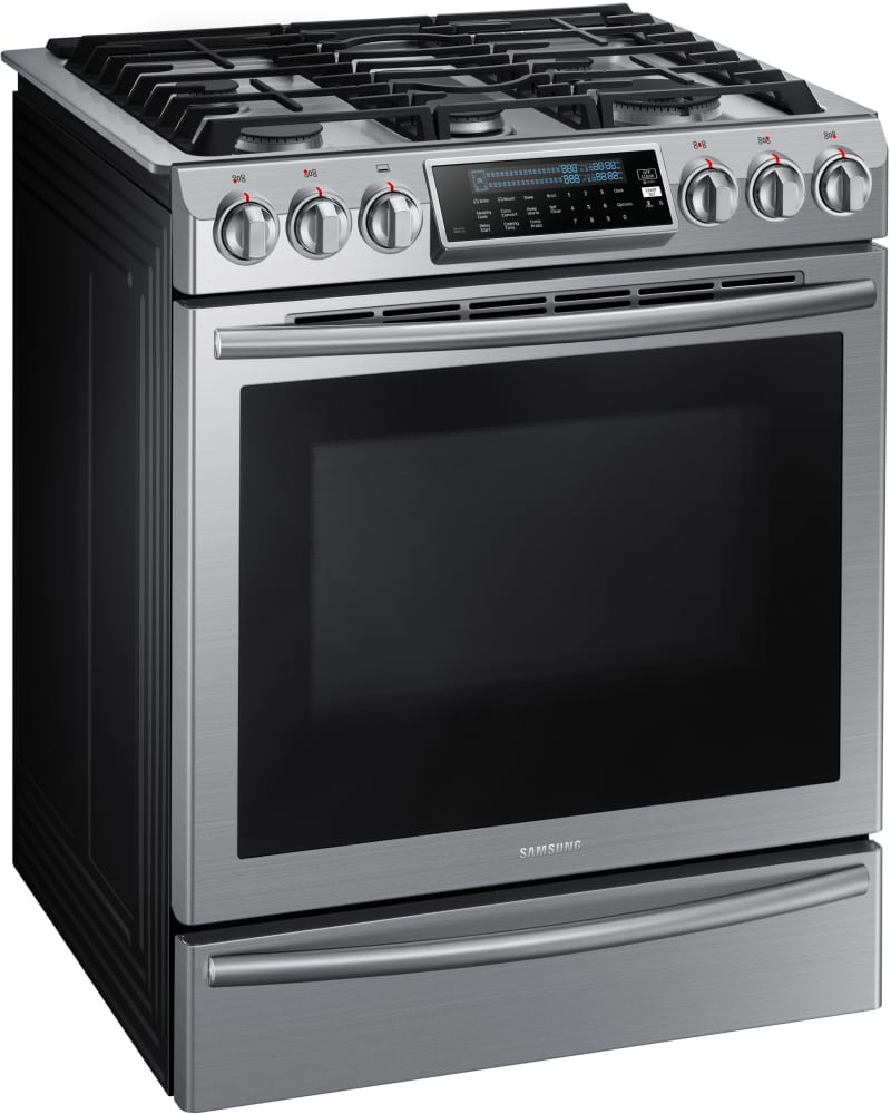 samsung nx58h9500ws 30 inch slide in gas range with true convection reversible griddle self. Black Bedroom Furniture Sets. Home Design Ideas