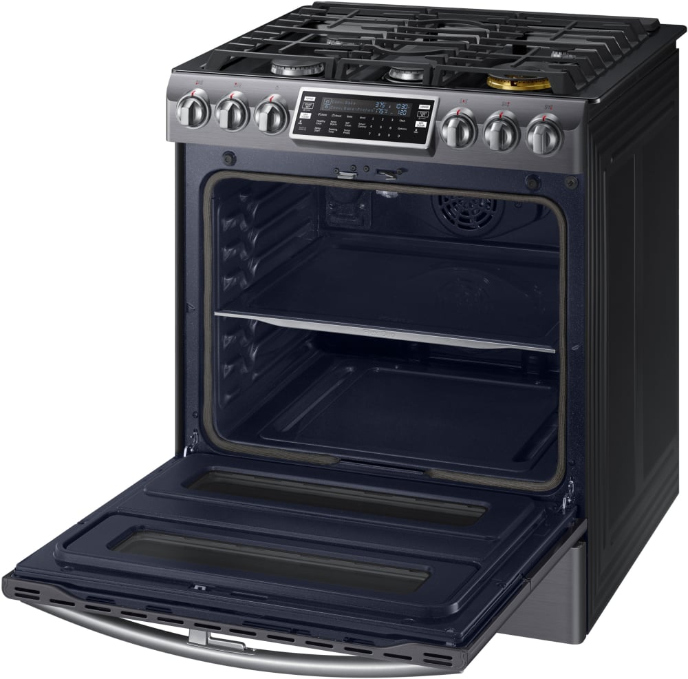 samsung nx58k9850sg 30 inch flex duo slidein gas range with dual convection wifi soft close door 58 cu ft oven 5 sealed burners
