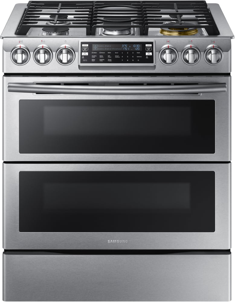 Stainless Steel Kitchen Stove samsung nx58k9850ss 30 inch flex duo™ slide-in gas range with dual