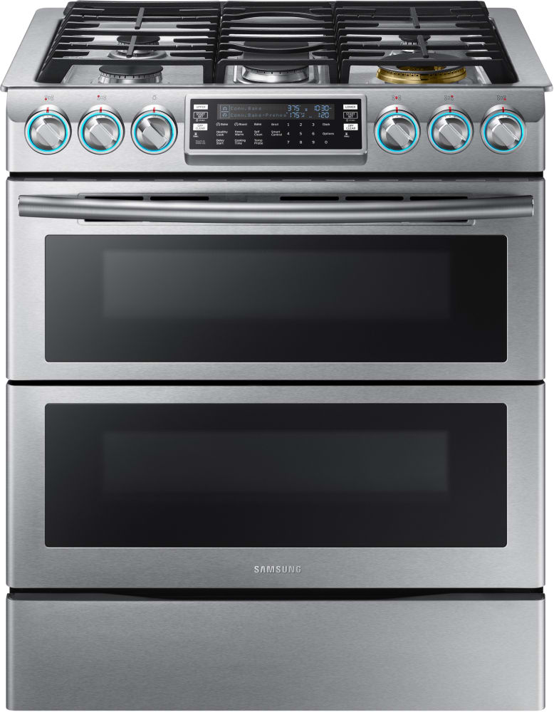 Samsung Nx58k9850ss Stainless Steel 30 Inch Dual Oven Slide In Gas Range With